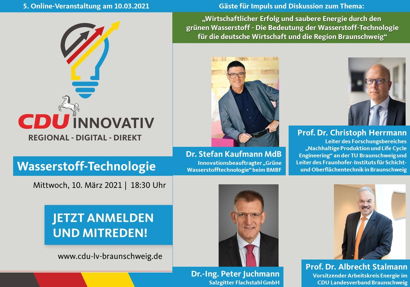 CDU Innovativ am 10.03.2021 zur Wasserstofftechnologie