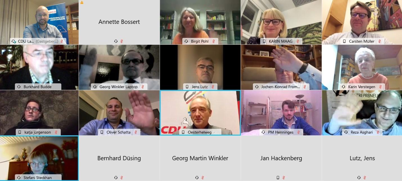 Bei CDU Innovativ diskutierten die Teilnehmer über die aktuellen Corona-Maßnahmen. (Screenshot Webex-Meeting).